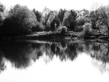 Landscape at the lake black and white photo Royalty Free Stock Photography