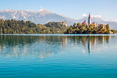 Landscape of Lake Bled Stock Images