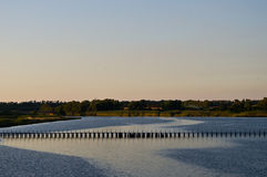Landscape with lake and bridge Royalty Free Stock Image