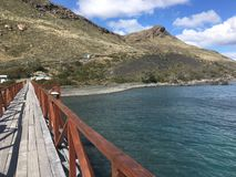 Landscape of lake,bridge and mountains in Patagonia Chile Stock Images