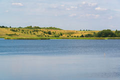 Landscape with lake in central Russia in August. Front focus Stock Images