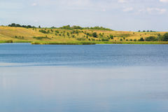 Landscape with lake in central Russia in August. Front focus Stock Photo
