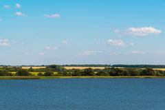 Landscape with lake in central Russia in August. Front focus Royalty Free Stock Photos