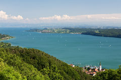 Landscape with the Lake Constance. And the Alps in the background Stock Photo