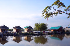 Landscape lake with cottage house village. relaxation waterfront hut Stock Photography