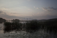 Landscape of the lake at dusk Royalty Free Stock Photography