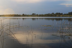 Landscape lake for fishing. In evening Royalty Free Stock Photos