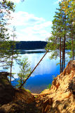 Landscape with lake forest sandy ravine and fallen pine Royalty Free Stock Photos