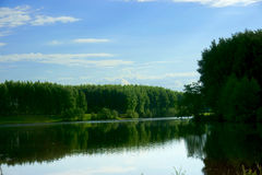 Landscape Lake, forest, sky Royalty Free Stock Photography