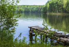 Landscape with a lake, forest and walkways Royalty Free Stock Photos