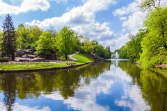 Landscape lake with fountain Royalty Free Stock Photo