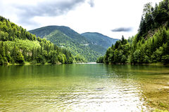 Landscape with lake Galbenu in Romania Royalty Free Stock Photos