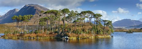 Landscape with lake in Galway county, Ireland. Panoramic landscape with lake from Pines Island Viewpoint in Galway county, Ireland stock photography