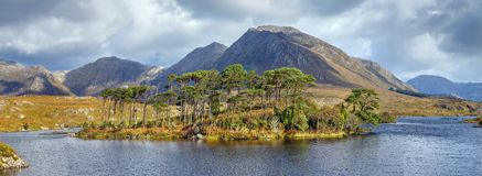 Landscape with lake in Galway county, Ireland. Panoramic landscape with lake from Pines Island Viewpoint in Galway county, Ireland royalty free stock photography