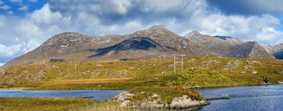 Landscape with lake in Galway county, Ireland. Panoramic landscape with lake from Pines Island Viewpoint in Galway county, Ireland royalty free stock images