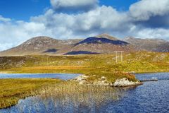 Landscape with lake in Galway county, Ireland. Landscape with lake from Pines Island Viewpoint in Galway county, Ireland royalty free stock photo