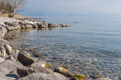 Landscape of Lake Garda from Padenghe sul Garda, Brescia, Italy. Royalty Free Stock Images