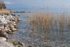 Landscape of Lake Garda from Padenghe sul Garda, Brescia, Italy. Royalty Free Stock Photography