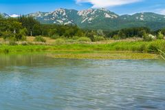 Landscape of lake, green vegetation forest and mountains the the foreground with blue sky - copysapce.  stock photography
