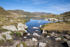 Landscape of a lake in the high mountains Royalty Free Stock Photos