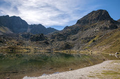 Landscape of a lake in the high mountains Stock Photo