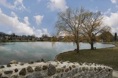 Upper Onondaga Park in Syracuse Upstate New York, USA. Landscape of The Lake with Interesting Background Sky Royalty Free Stock Images