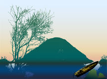 Landscape with lake, island, boat and silhouette of tree. Nostalgy landscape with rowboat, green island and trees reflecting in water Royalty Free Stock Image
