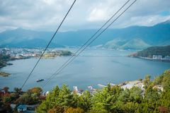 Landscape of Lake Kawaguchiko in Autumn season. View from cable car in Japan. stock images