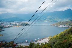Landscape of Lake Kawaguchiko in Autumn season. View from cable car in Japan. stock image