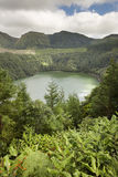 Landscape with lake. Lagoa de Santiago, Sao Miguel island. Azore Royalty Free Stock Images