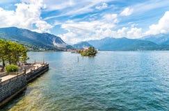 Landscape of lake Maggiore with Fishermen Island (Isola dei Pescatori). Royalty Free Stock Photography