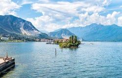 Landscape of lake Maggiore with Fishermen Island (Isola dei Pescatori). Royalty Free Stock Images