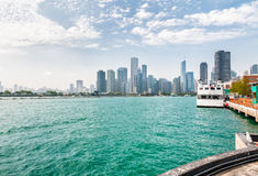 Landscape of lake Michigan and Chicago downtown Stock Images