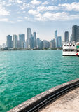 Landscape of lake Michigan and Chicago downtown Royalty Free Stock Photos