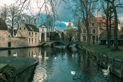 Landscape at Lake Minnewater in Bruges, Belgium Royalty Free Stock Photos