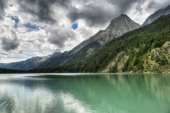 Landscape of the lake in the mountains Stock Images