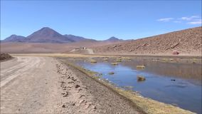Landscape of lake and mountains in Atacama desert Chile. Landscape of lake, river and mountains in Atacama desert Chile stock video