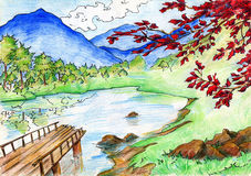 Landscape with lake and mountains. Landscape with lake, mountains, forest and a tree with red leaves. Drawn with colored pencils (crayons) and ink Royalty Free Stock Photo