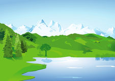 Landscape with lake and mountains. Illustration of green countryside landscape with lake and snow capped mountains in background Stock Photography