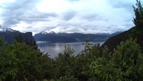 Landscape with lake in the mountains. Norway stock footage