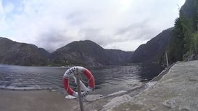 Landscape with lake in the mountains. Norway stock video footage