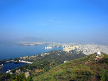 Landscape with lake and palaces in Udaipur Royalty Free Stock Photos