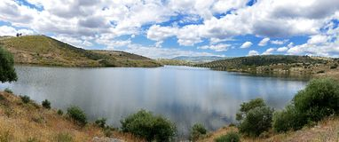 Landscape with lake (panoramic view) Royalty Free Stock Image