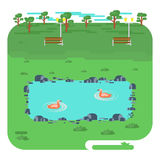 Landscape with lake in park stock illustration