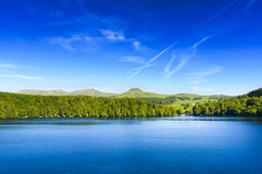 Landscape of Lake Pavin in Auvergne Stock Photography