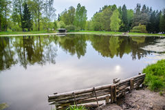Landscape with lake. Pavlovsk Park, city of Pavlovsk. The kings Park. Landscape is idyllic. The forest and the lake in loue, Park. Summer day in nature Royalty Free Stock Image