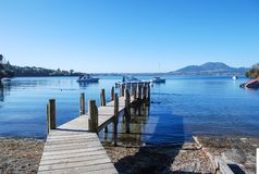 Landscape on the lake with a pier stock image