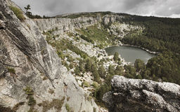 Landscape with lake and pine forest in Spain. Laguna Negra Stock Photos
