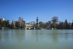 Landscape, Lake in Retiro park, Madrid Spain Stock Photos
