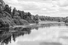Landscape of the lake or river in monochrome tone Royalty Free Stock Photo